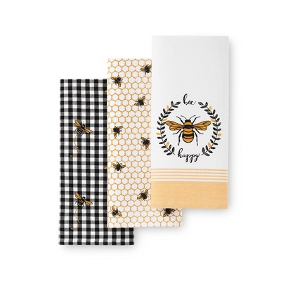 """Farmhouse Living Bee Happy Honeycomb Kitchen Towels, Set of 3 - 18"""" x 28"""" - Elrene Home Fashions"""
