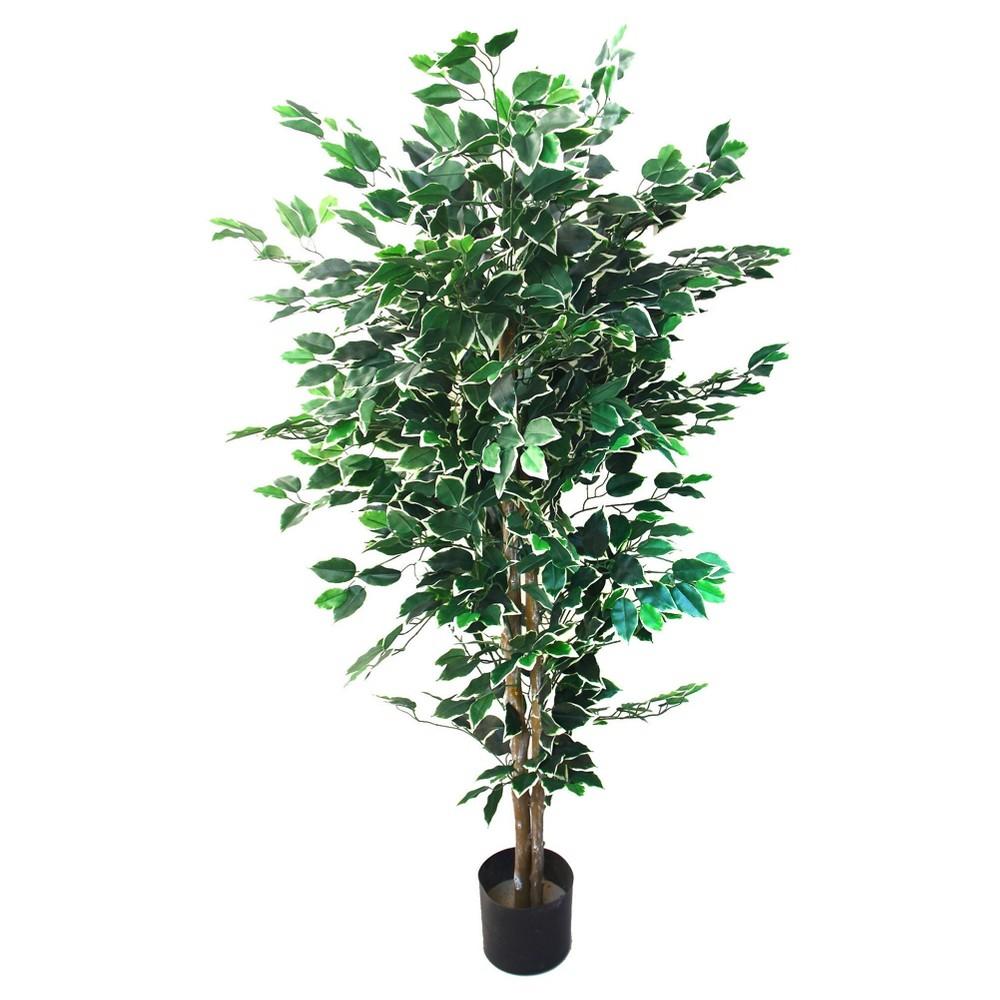 Pure Garden 5ft Ficus Artificial Tree, Green