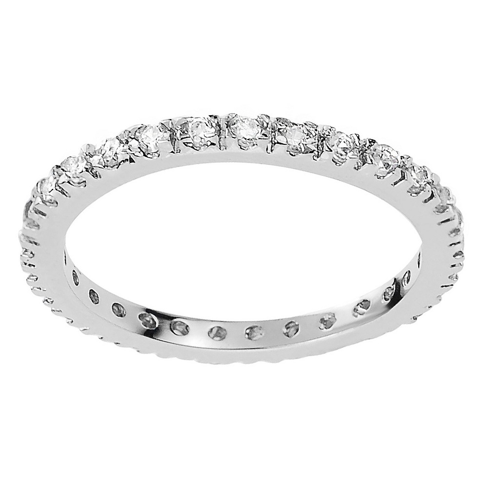 1/4 CT. T.W. Round-cut CZ Eternity Prong-set Ring in Sterling Silver - White, 8, Girl's