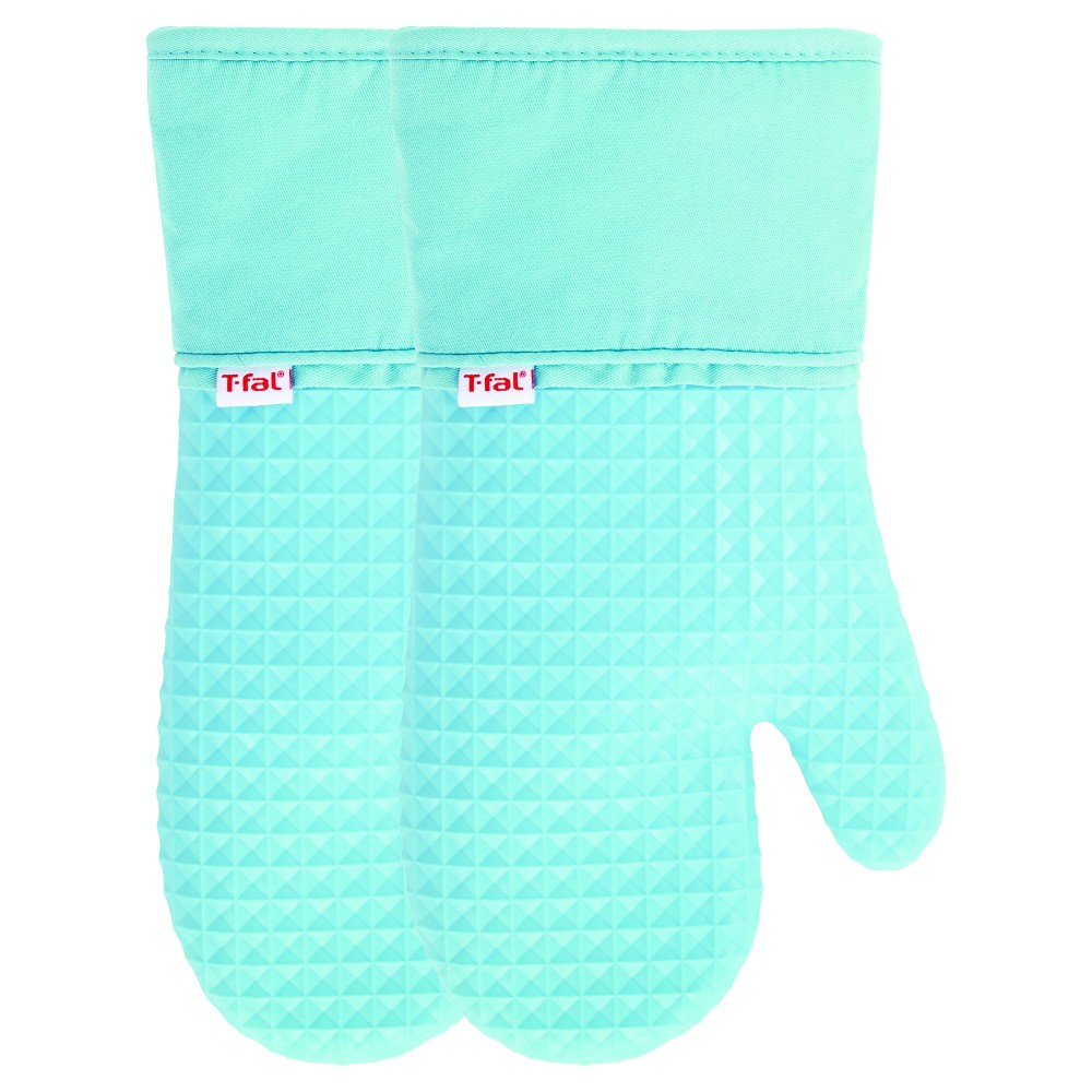 Image of 2pk Teal Waffle Silicone Oven Mitt - T-Fal