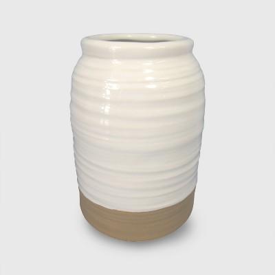 Stoneware Vase Medium - White - Threshold™