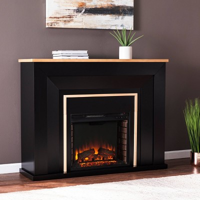 Skens Industrial Electric Fireplace Black/Natural - Aiden Lane