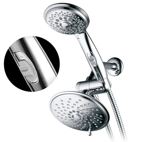 Dual Shower Head Ultra Luxury Rainfall Combo Shower System Chrome
