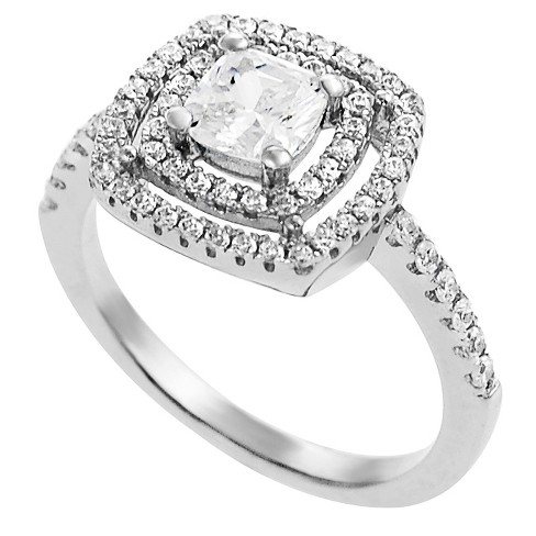 Women's Tressa Collection Sterling Silver Square Cut CZ Prong Set Bridal Style Ring - Silver - image 1 of 3