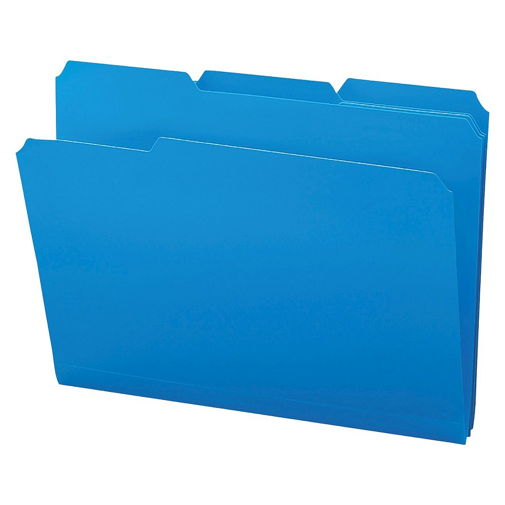 Image of SMead Waterproof Poly File Folders, 1/3 Cut Top Tab, Letter, Blue, 24/Box