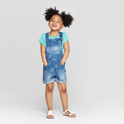 Toddler Girls' Star Print Denim Romper - Cat & Jack™ Blue 12M