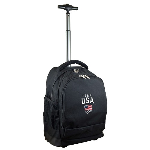USA Mojo Licensing United States Olympic Team Rolling Black Premium Backpack, Kids Unisex, Size: Small