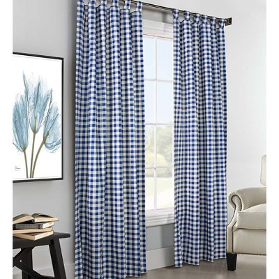 "54""L x 80""W Thermalogicª Check Tab-Top Curtain Pair"