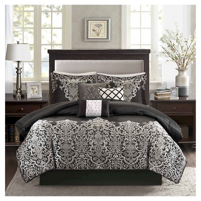 Priscilla 7 Piece Comforter Set- Black (King)