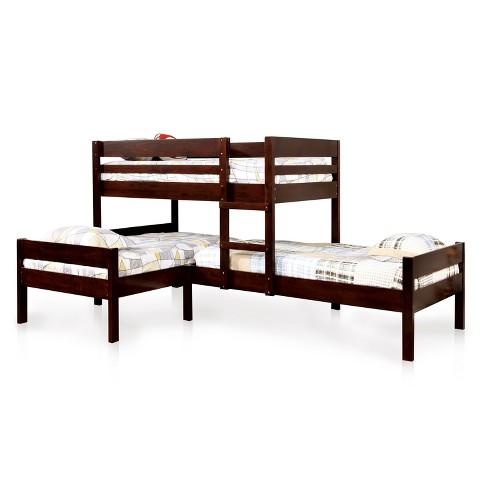 Twin Nora Kids Triple Bunk Bed Roasted Coffee Sun Pine Target