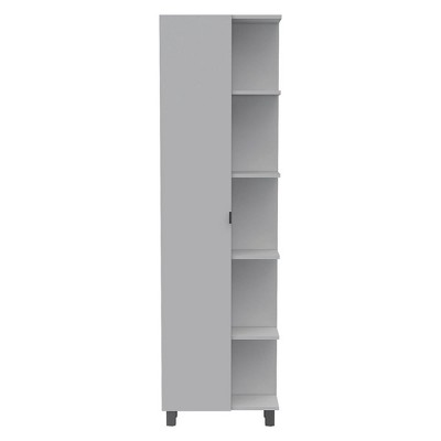 TUHOME Urano Linen Storage Cabinet Organizer with Swinging Hinge Door and 9 Shelves for Bathroom Bedroom Kitchen or Garage, White