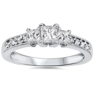 Pompeii3 1/3ct Three Stone Princess Cut Diamond Engagement Ring 14K White Gold