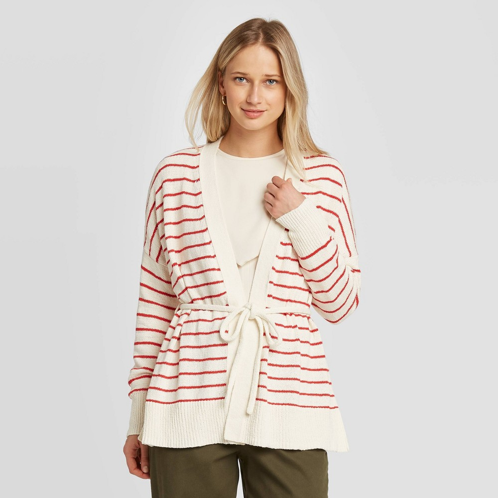 Women's Striped Long Sleeve Wrap Cardigan - Who What Wear White M was $34.99 now $24.49 (30.0% off)