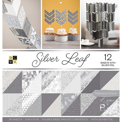 """DCWV Double-Sided Cardstock Stack 12""""X12"""" 36/Pkg-Silver Leaf, 18 Designs/2 Each"""