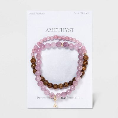 Semi-Precious and Wood Beads with Charm Stretch and Multi-Strand Bracelet Set 2pc