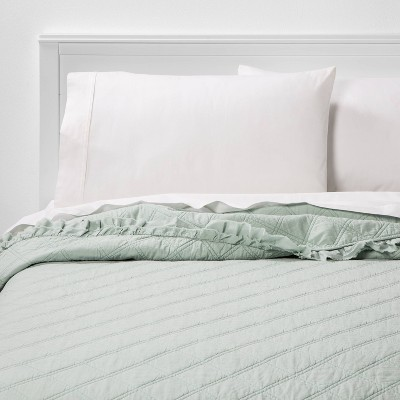 Full/Queen Vintage Washed Ruffle Quilt Pale Mint - Threshold™
