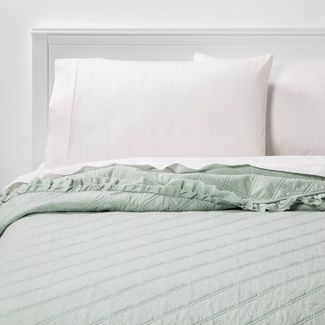 King Vintage Washed Ruffle Quilt Pale Mint - Threshold™
