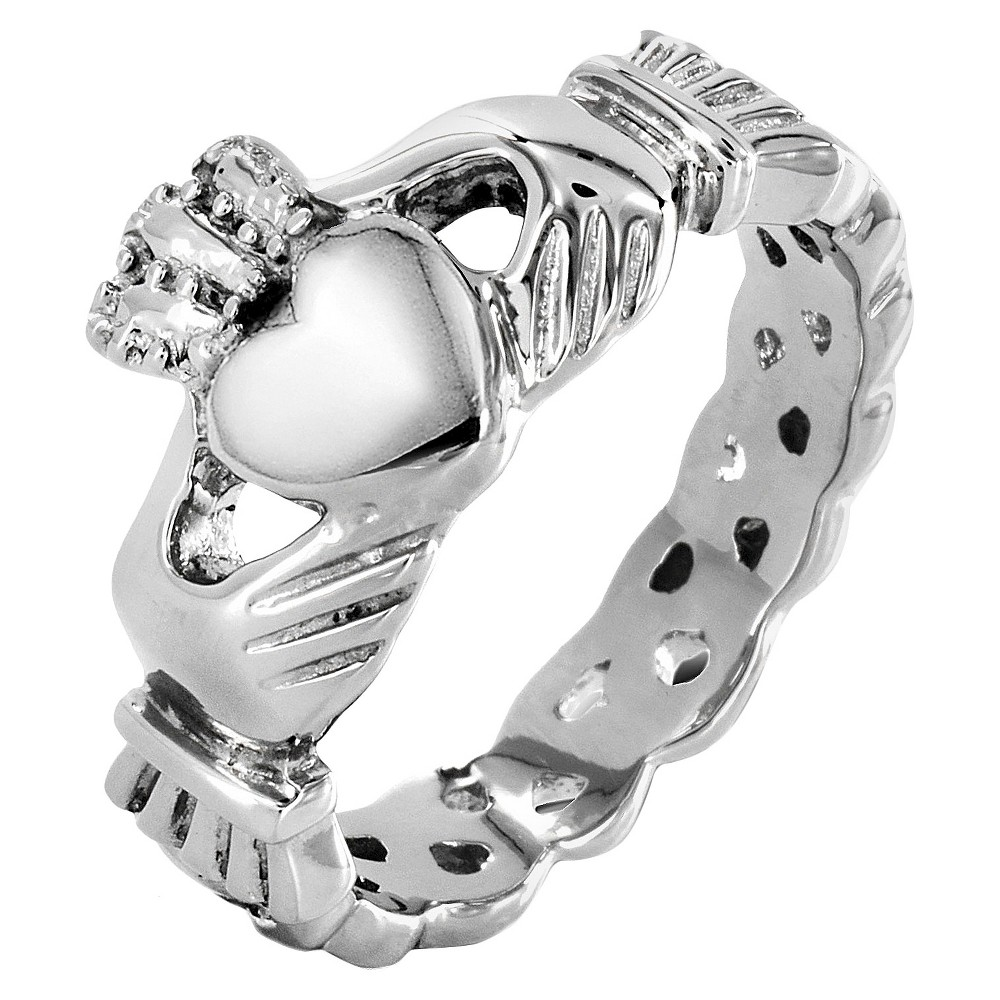 Elya Stainless Steel Claddagh Ring with Celtic Knot Eternity Design (5mm), Girl's, Size: 7, Silver
