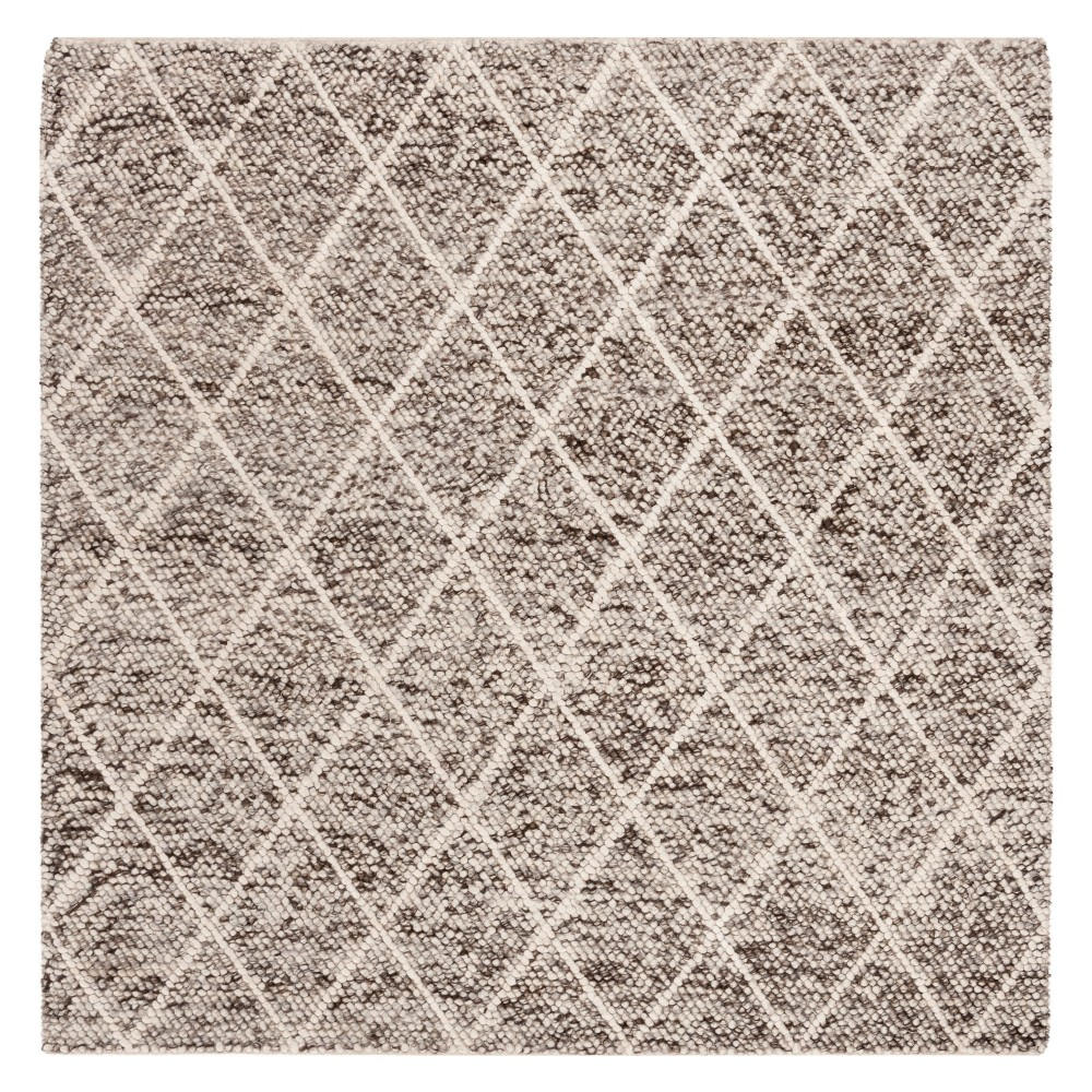 6'X6' Diamond Woven Square Area Rug Ivory/Stone (Ivory/Grey) - Safavieh