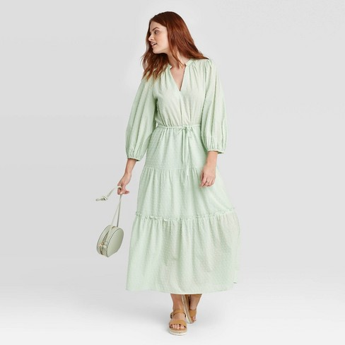 Women's Long Sleeve Clipspot Tiered Dress - A New Day™  - image 1 of 3