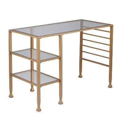Jamel Glass Writing Desk with Storage Gold - Aiden Lane