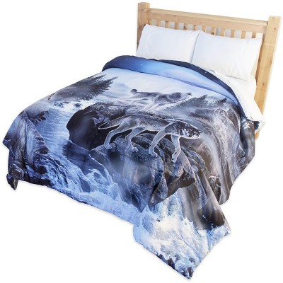Lakeside Wolf Pack Indoor Nature Accent Comforter for Animal Lovers and Kids