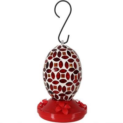 "Sunnydaze Outdoor Garden Patio Oval Glass with Mosaic Flower Design Hummingbird Feeder - 18 oz - 7"" - Red"
