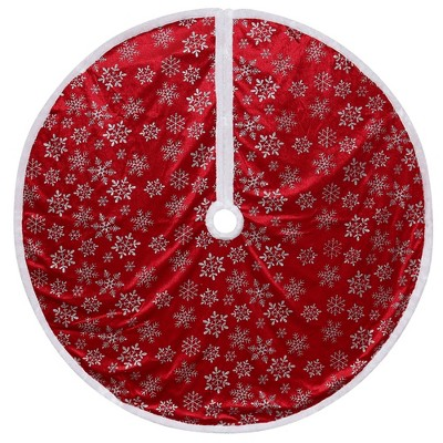 """Northlight 48"""" Red and White Snowflake Christmas Tree Skirt with a White Border"""