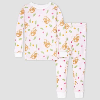 Burt's Bees Baby® Girls' 2pc Sloth Pajama Set - White