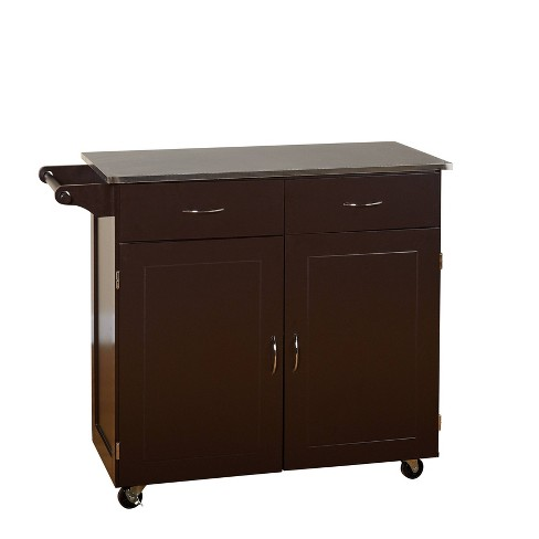 Large Kitchen Cart with Stainless Steel Top Espresso Brown - Buylateral