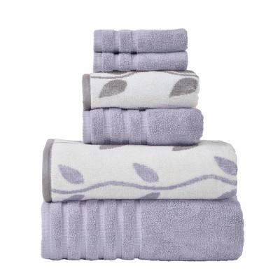 Modern Threads 6 Piece Yard Dyed Towel Set, Organic Vines.