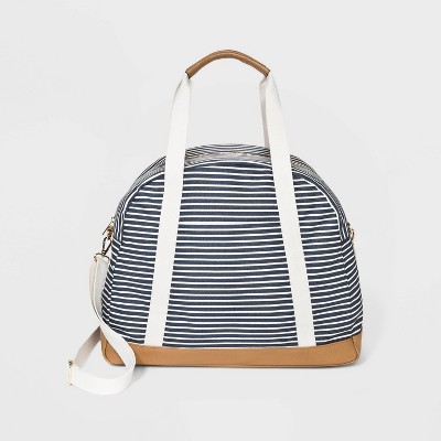 Striped Zip Closure Dome Weekender Bag - A New Day™ Navy