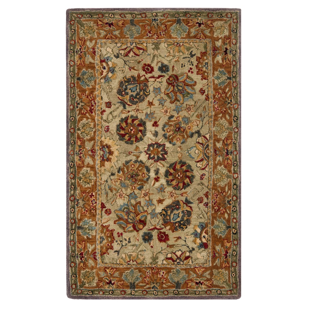 Green/Gold Floral Tufted Accent Rug 3'X5' - Safavieh, Gold Green