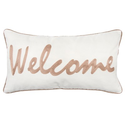 Throw Pillow Rizzy Home White Ivory Brown