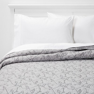 Twin Rocket Heathered Cotton Quilt Gray - Pillowfort™