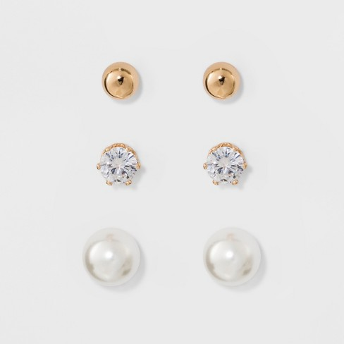 Stud Earring Set 3ct - A New Day™ - image 1 of 2