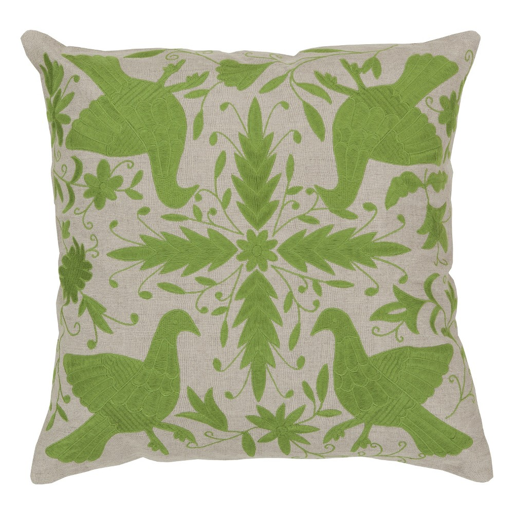 Green Linen Birds Throw Pillow 18