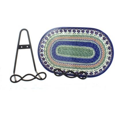 "Blue Rose Polish Pottery Large 8"" Loop Design Plate Rack"