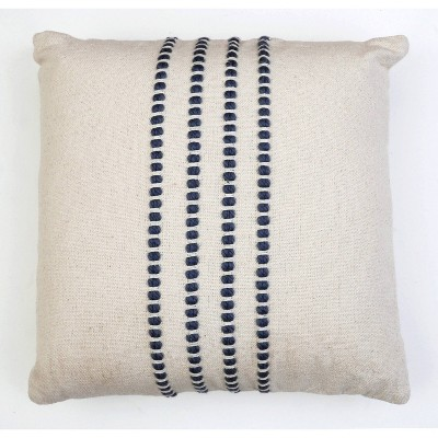 """20""""x20"""" Oversize Wanda Yarn Stitch Woven Cotton Square Throw Pillow Blue - Décor Therapy"""