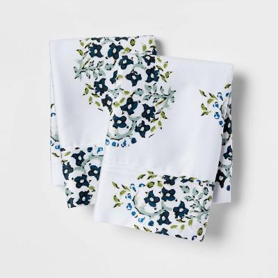 Performance Printed Pillowcase (Standard)Blue Block Print 400 Thread Count - Threshold™