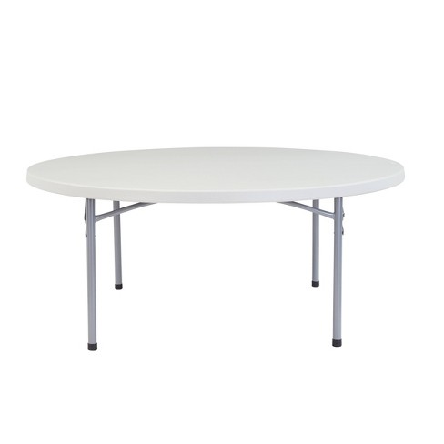 71 Heavy Duty Round Folding Table Speckled Gray Hampton Collection
