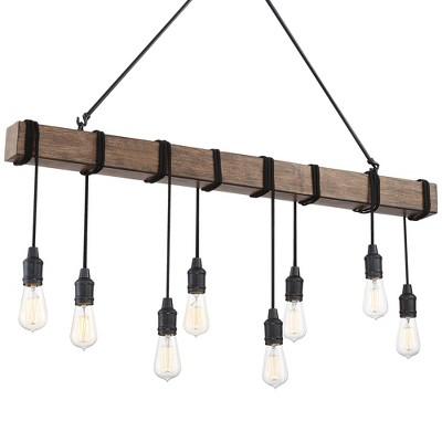 "Possini Euro Design Black Wood Grain Linear Island Pendant Chandelier 42 1/4"" Wide Farmhouse 8-Light Fixture for Kitchen Island"