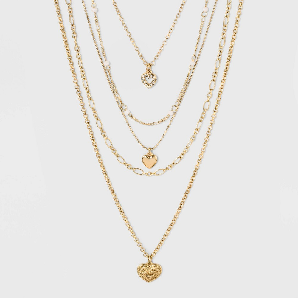 Image of Zinc Steel Brass Glass Multi Row Necklace - Wild Fable Bright Gold, Women's