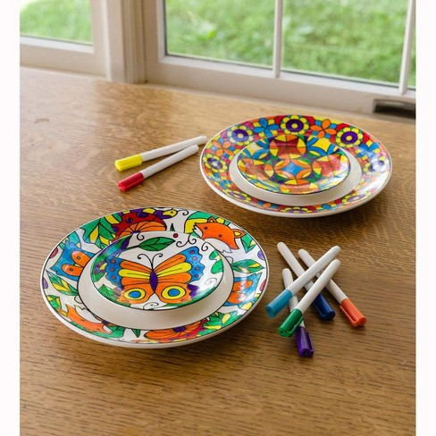 Color Pops Color-Your-Own Plates Set - Craft Kit for Kids - HearthSong - image 1 of 2
