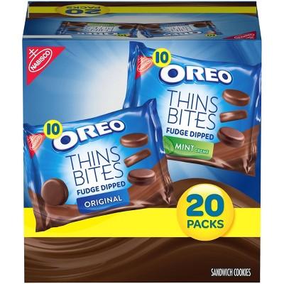 Oreo Thins Bites Fudge Dipped Sandwich Cookies Multipack - 20ct