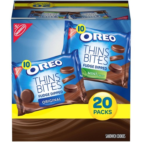 Oreo Thins Bites Fudge Dipped Sandwich Cookies Multipack - 20ct - image 1 of 4