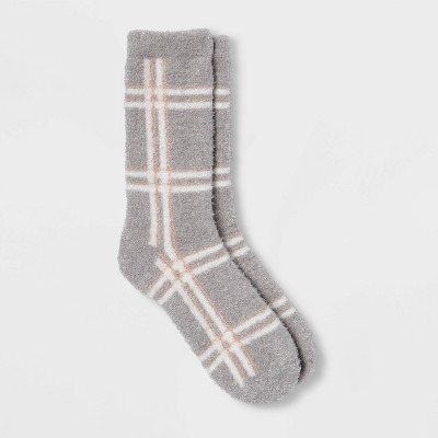 Women's Plaid Cozy Crew Socks - A New Day™ Gray 4-10