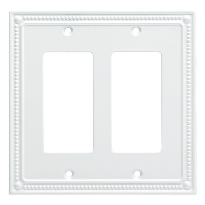 Franklin Brass Classic Beaded Double Decorator Wall Plate White