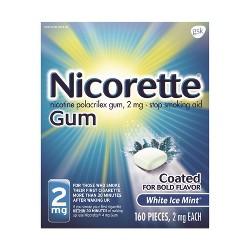 Nicorette 2mg Stop Smoking Aid Nicotine Gum - White Ice Mint - 160ct