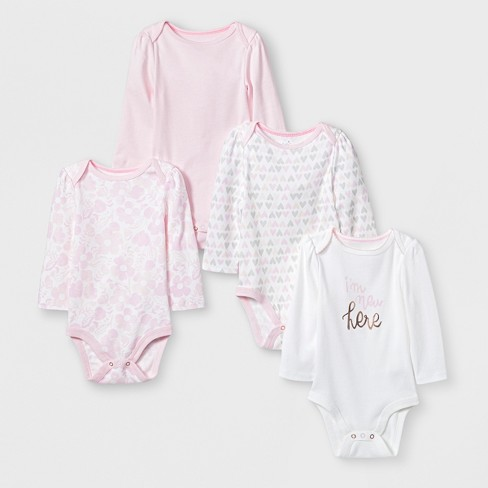 Baby Girls' 4pk Long sleeve Bodysuit - Cloud Island™ White - image 1 of 1